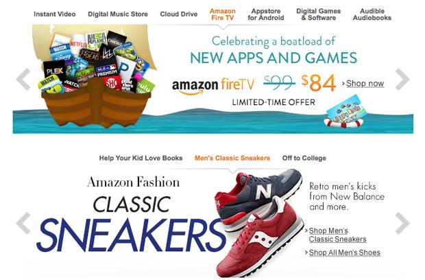 Amazon a dva slidery nad sebou
