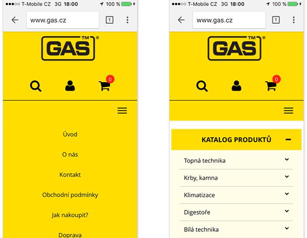 Dvě navigace gas.cz 2