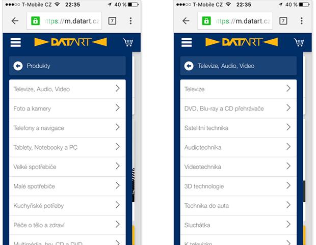 Datart.cz navigace